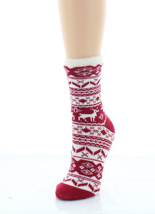 Fuzzy Socks | Crew Socks | Nature Trail Lined Socks - MeMoi - 1