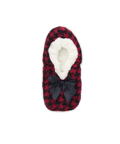 Houndstooth Sherpa Lined Slippers - MeMoi - 1