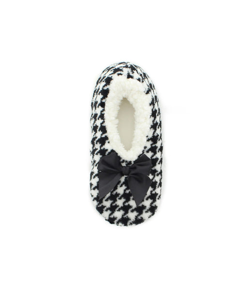 Houndstooth Sherpa Lined Slippers - MeMoi - 2