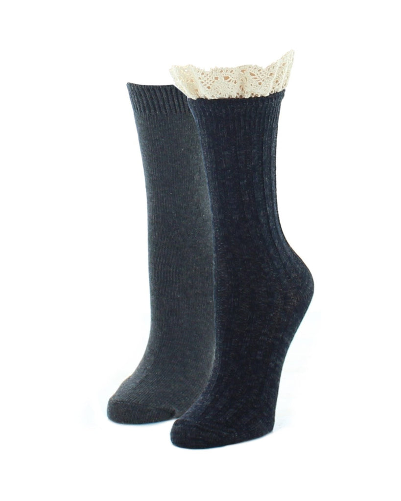 Boot Socks | Fuzzy Socks | Ribbed Lace Top Variety Pack - MeMoi - 1