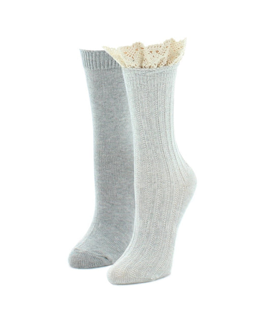 Boot Socks | Fuzzy Socks | Ribbed Lace Top Variety Pack - MeMoi - 2
