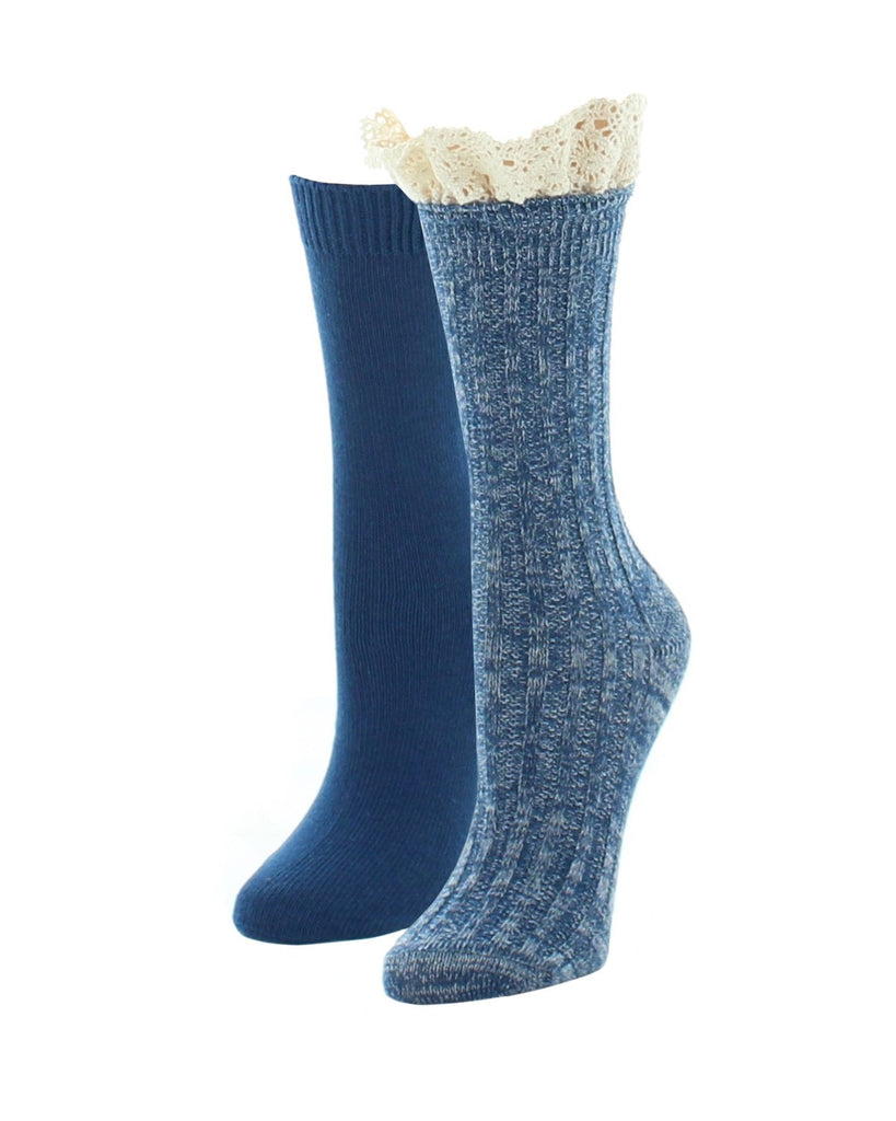 Boot Socks | Fuzzy Socks | Ribbed Lace Top Variety Pack - MeMoi - 3