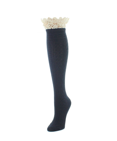 Knee High Socks | Women's Socks | Lace Top Patterned - MeMoi - 1