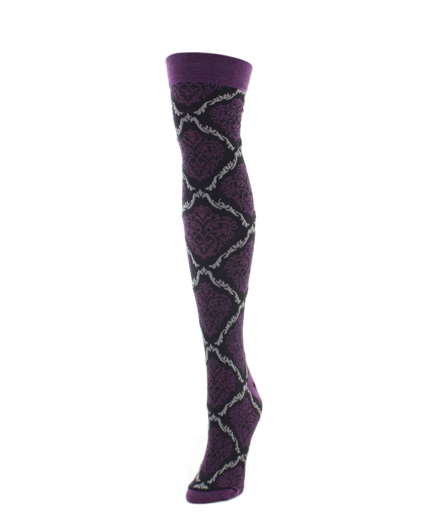 Over The Knee Socks | Women's Socks | Two Tone Damask - MeMoi - 3