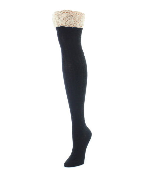 Over The Knee Socks | Women's Socks | Lace Top Cable - MeMoi - 1