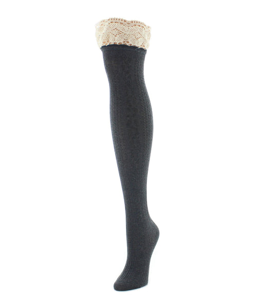 Over The Knee Socks | Women's Socks | Lace Top Cable - MeMoi - 2