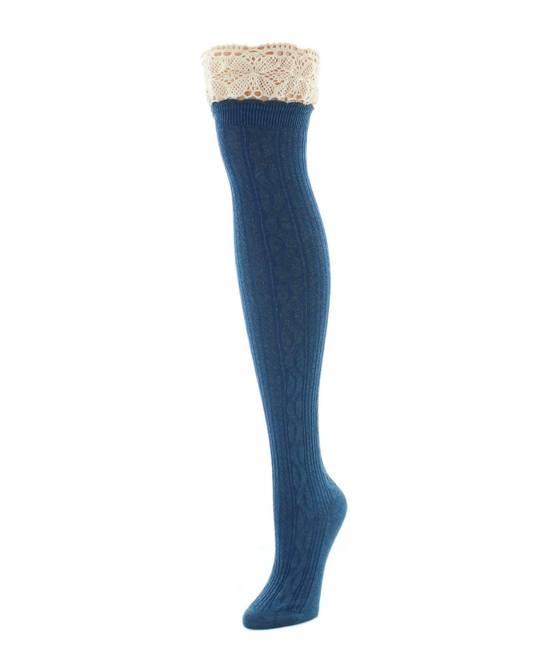 Over The Knee Socks | Womens Socks | Lace Top Cable - MeMoi - 3