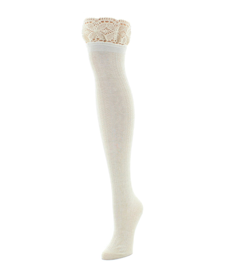 Over The Knee Socks | Womens Socks | Lace Top Cable - MeMoi - 4