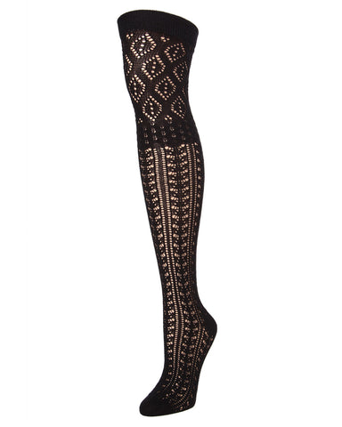 Fret Over the Knee Socks| Knee Highs By MeMoi®  | MF6-819 | Black