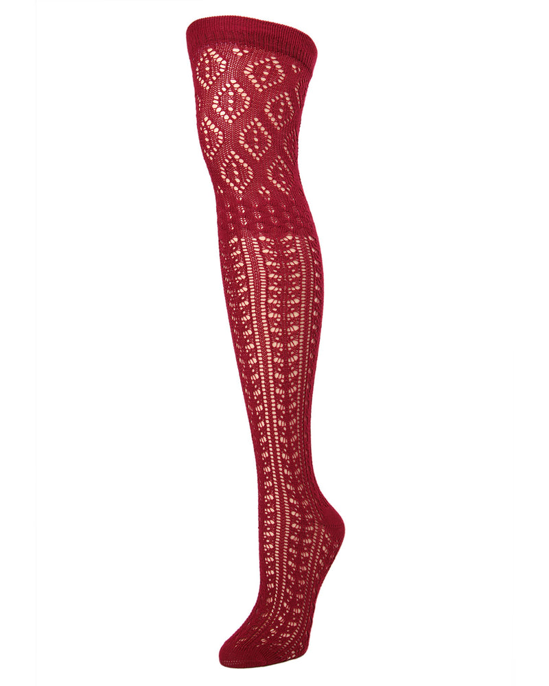 Fret Over the Knee Socks| Knee Highs By MeMoi®  | MF6-819 | Black | cabernet