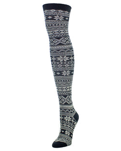 MeMoi Snow Flakes & Stripes Over The Knee Women Socks