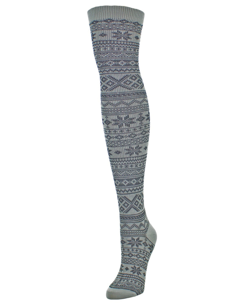 Snow Flakes & Stripes Over The Knee Women Socks - MeMoi - 5