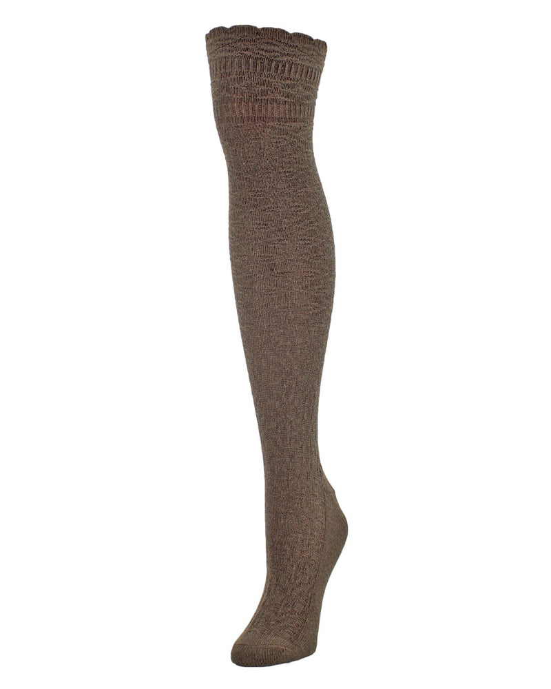 Fine Crosshatch Over The Knee Socks - MeMoi - 3