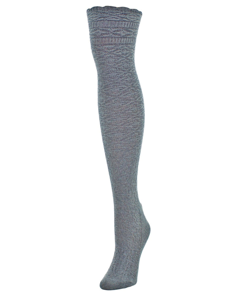 Fine Crosshatch Over The Knee Socks - MeMoi - 4