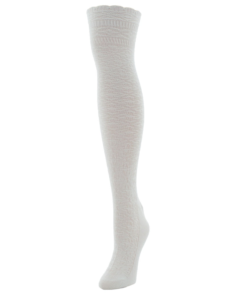 Fine Crosshatch Over The Knee Socks - MeMoi - 1