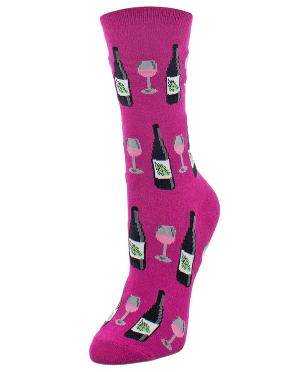 Wine Bamboo Crew Socks | Fun Novelty Socks by MeMoi® | Wine Socks | Festival Fuchsia MF6-913