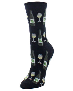 MeMoi Wine Glass Bamboo Crew Socks