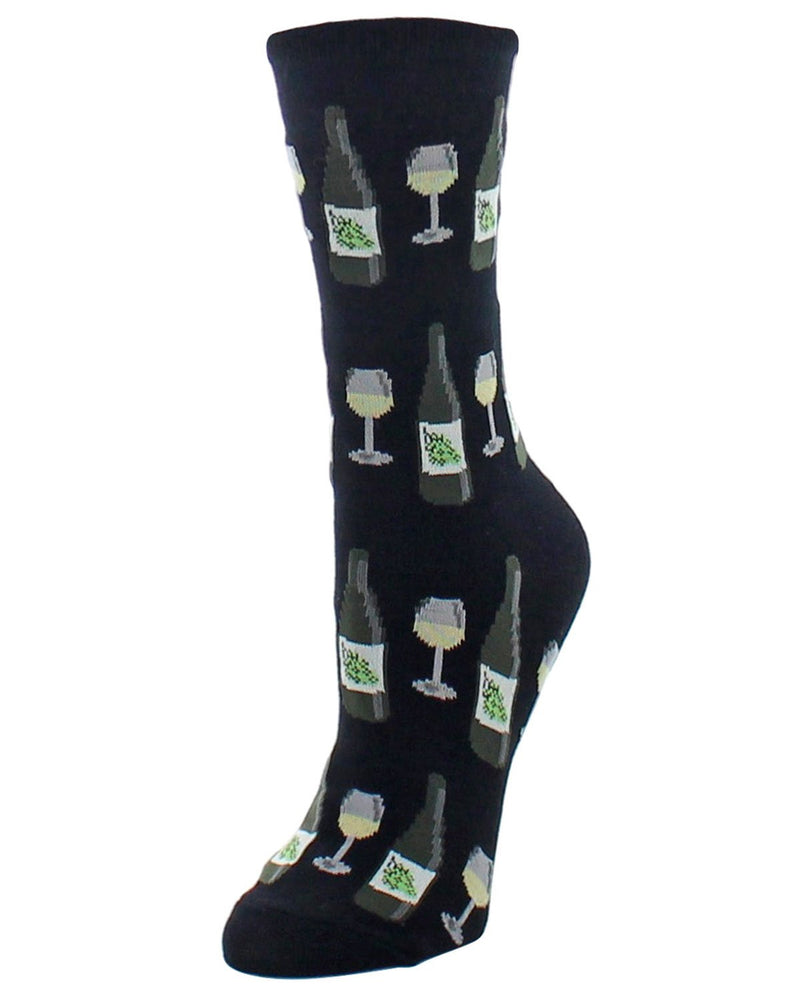 Wine Bamboo Crew Socks | Fun Novelty Socks by MeMoi® | Wine Socks | Black MF6-913
