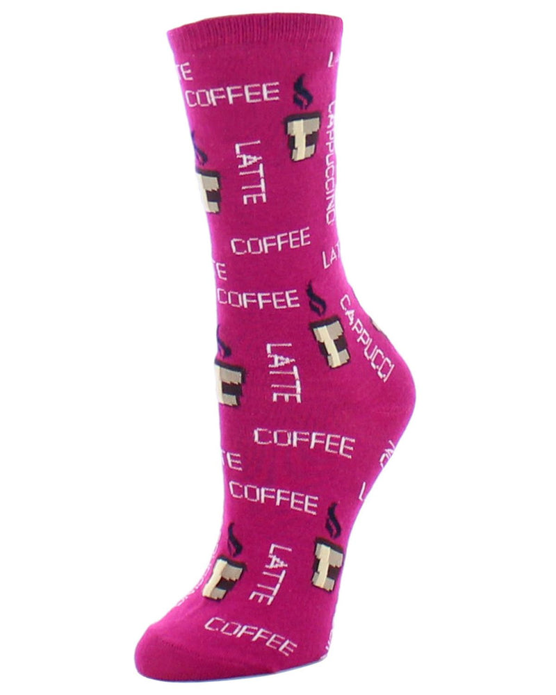 MeMoi Fuchsia Coffee Latte Time  Bamboo Crew Novelty Socks | Women's Fun Novelty Socks | Coffee Latte Socks for Women