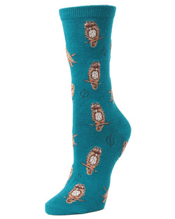 MeMoi Deep Lagoon Owl and Leaf Bamboo Crew Novelty Socks | Women's Fun Novelty Socks