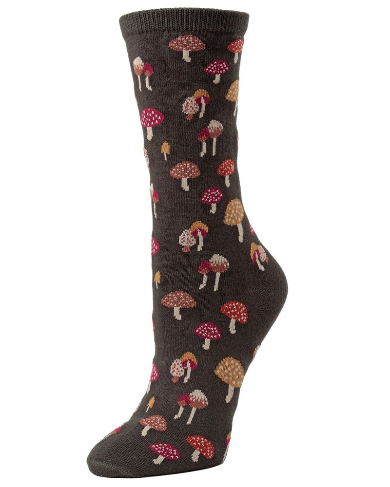 Mushroom Field Crew Socks | Fun Women's Novelty Sock by MeMoi | Rosin MF6-923