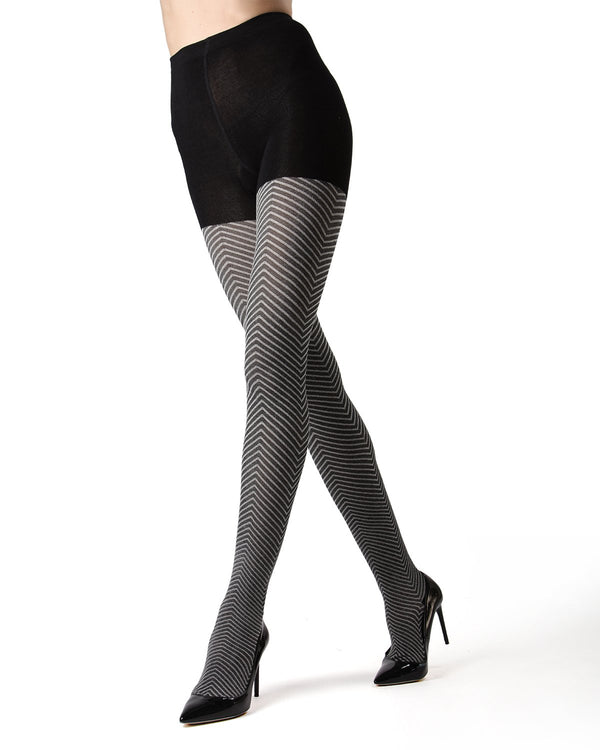 Memoi Black Amari Chevron Sweater Tights | Women's Hosiery - Pantyhose - Nylons