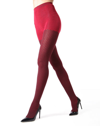 Memoi Red Amari Chevron Sweater Tights | Women's Hosiery - Pantyhose - Nylons
