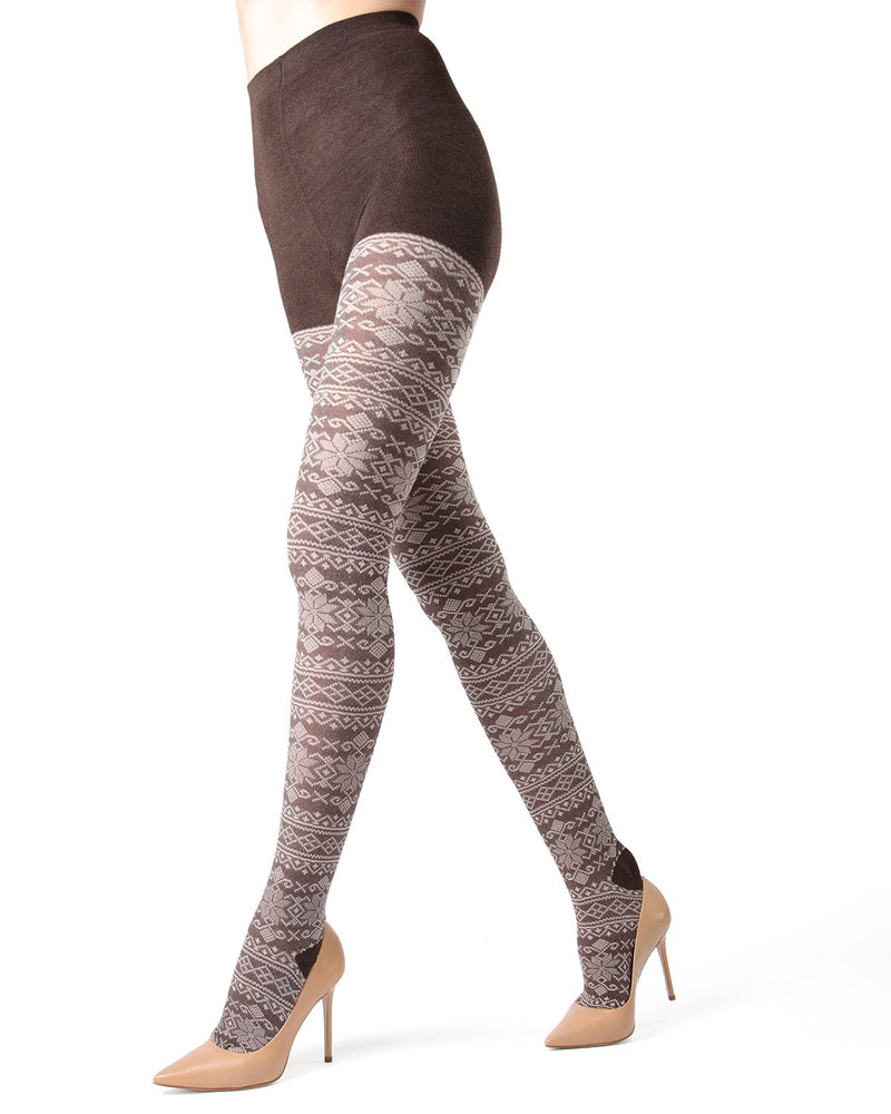 MeMoi Brown Heather Selbu Sweater Tights | Women's Hosiery - Pantyhose - Nylons