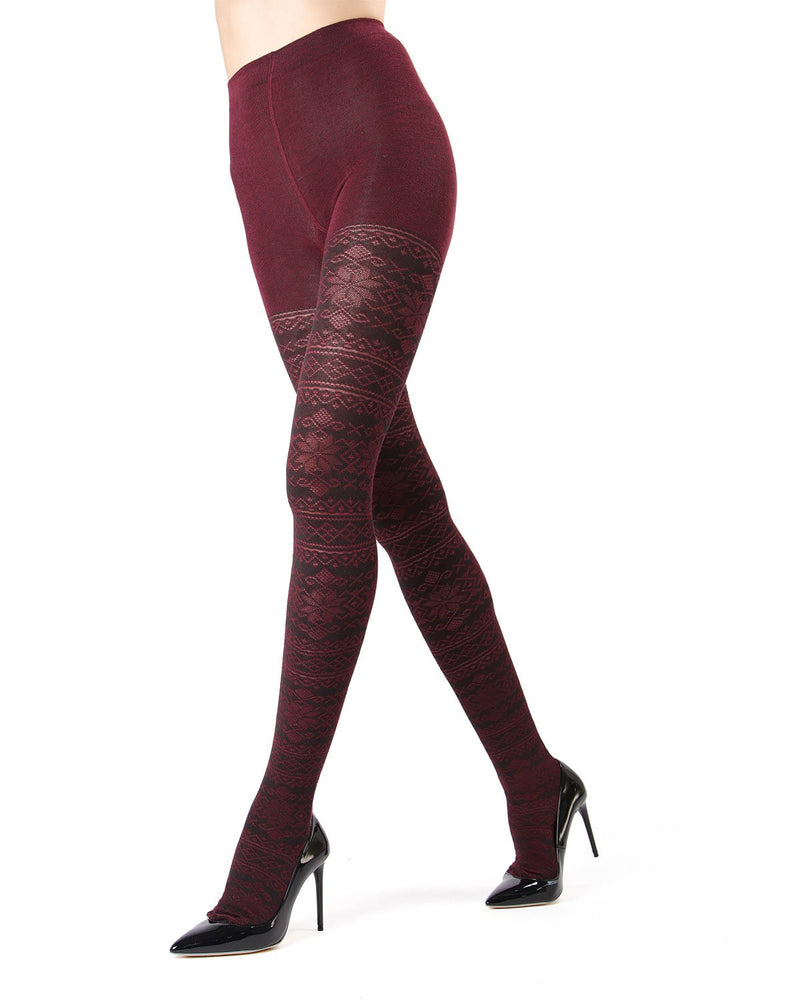 MeMoi Burgundy Heather Selbu Sweater Tights | Women's Hosiery - Pantyhose - Nylons