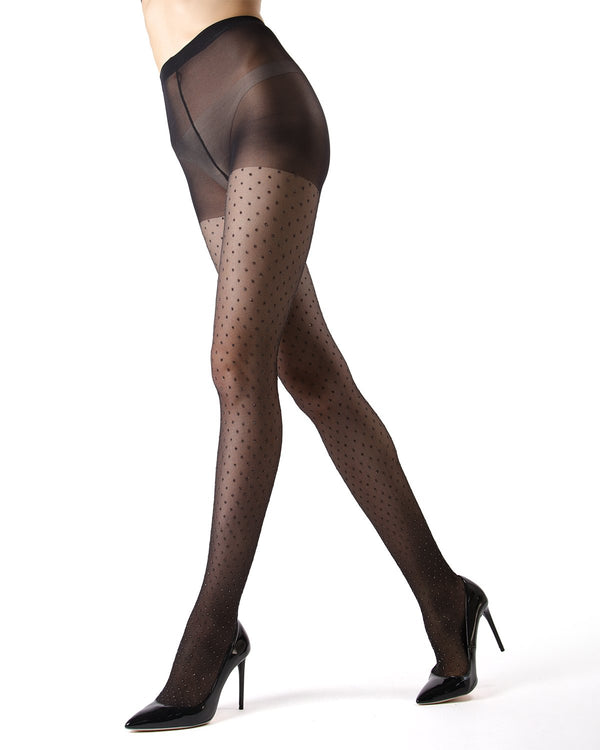 MeMoi | Black/Gold Shibuya Sheer Sparkle Tights | Women's Tights