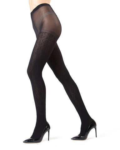 Black Wave Opaque Tights