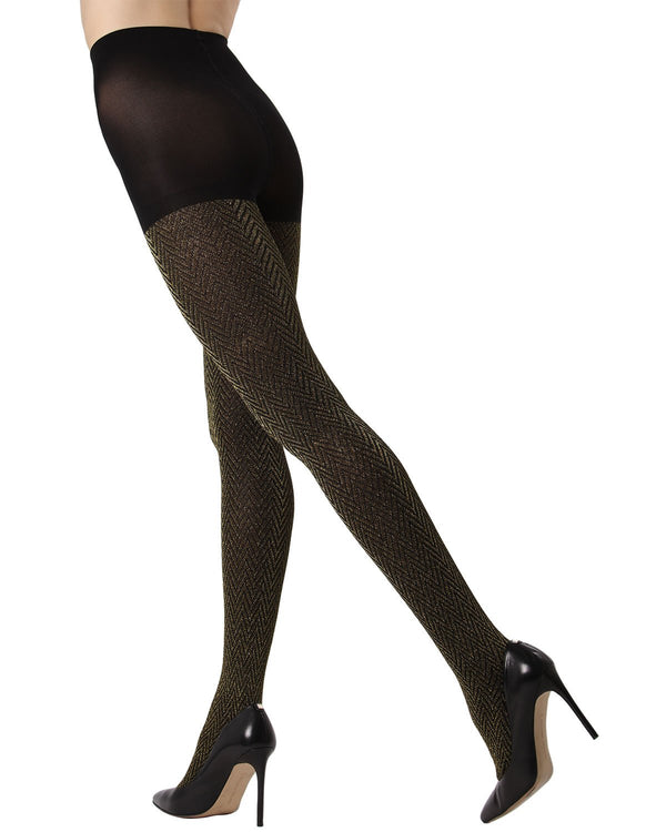 Metallic Chevron Tights