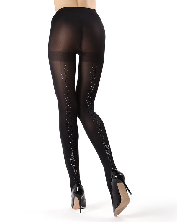 MeMoi Opaque Falling Stars Tights | Women's Premium Fashion Opaque Pantyhose for Women | Top Women Hosiery -MF7-195 Black-