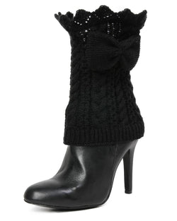 MeMoi Vixen Mixed Rib Bow Detail Boot Topper