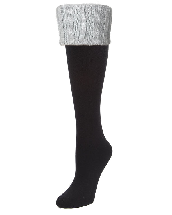 Leeds Fleece-Lined Cuffed Knee High | Women's Knee High Winter Socks by Memoi | Black/ Silver Lurex MF7-5220