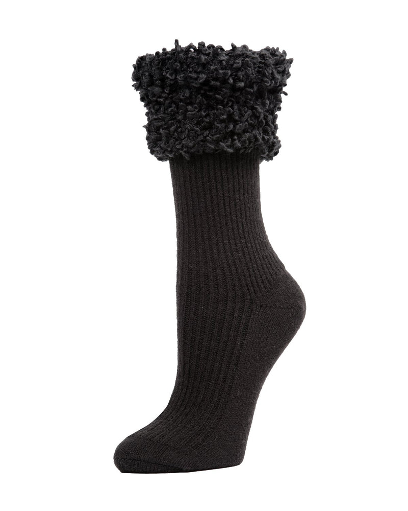 Cherub Ribbed with Fancy Cuff Crew Socks | Women's Boot Socks by Memoi | Black MF7-5243