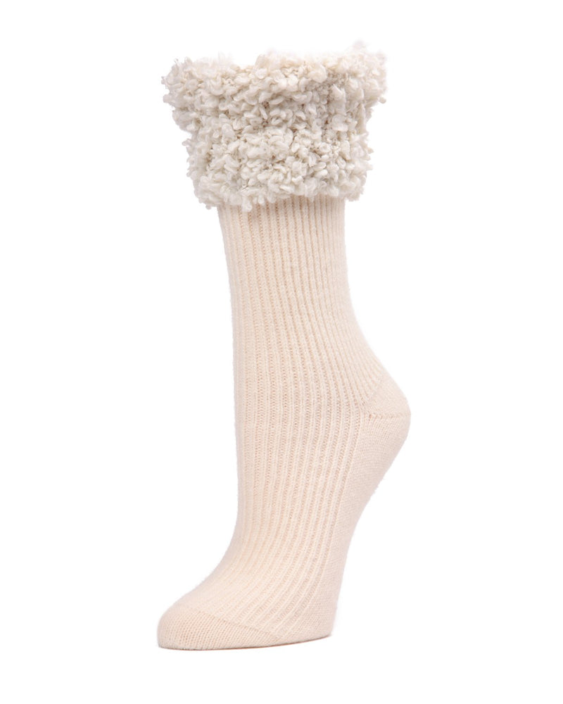 Cherub Ribbed with Fancy Cuff Crew Socks | Women's Boot Socks by Memoi | Winter White MF7-5243