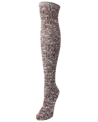 MeMoi Overcast Marled Rib Over the Knee Socks | Womens Thigh High Socks -MF7-874- Dark Sapphire-
