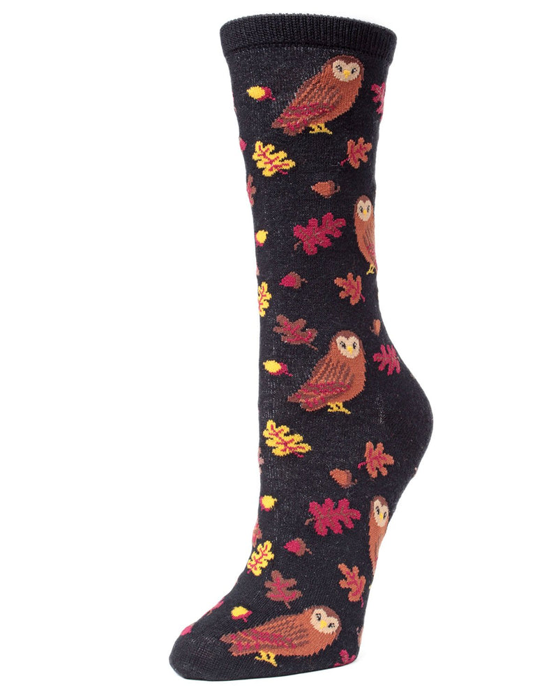 MeMoi Women's Autumn Owl Bamboo Crew Novelty Socks (Black)| Women's Fun Novelty Socks | Socks for Owl lovers