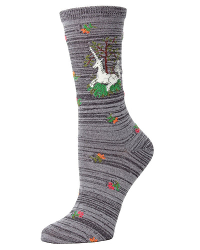 MeMoi Gray Heather Unicorn Bamboo Crew Novelty Socks | Women's Fun Unicorn Novelty Socks