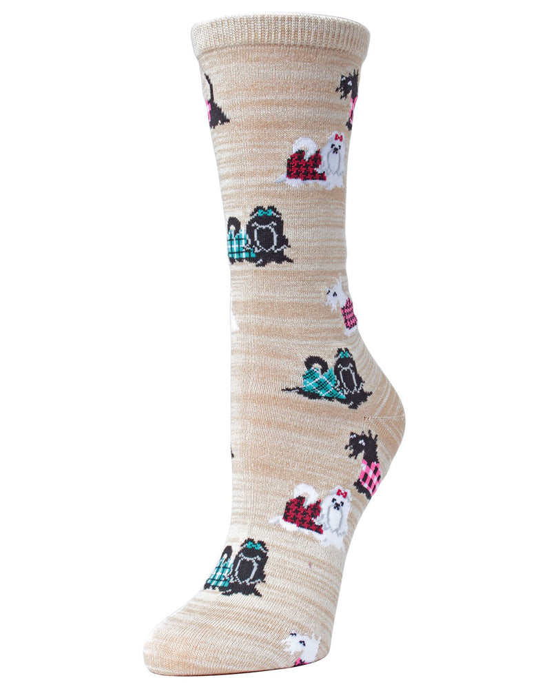 MeMoi Crockery Fancy Dog Scottish and Yorkshire Terrier Bamboo Crew Novelty Socks | sock for Yorkie & Scottie dog lovers