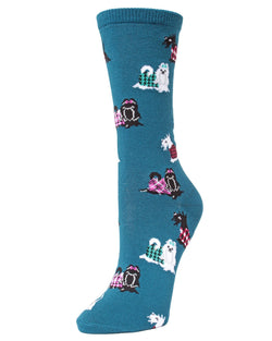 MeMoi legion blue Fancy Dog Scottish and Yorkshire Terrier Bamboo Crew Novelty Socks | sock for Yorkie & Scottie dog lovers