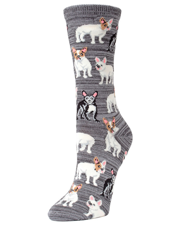 French Bulldog Bamboo Novelty Crew Socks | Fun Novelty Socks by MeMoi® | Dog Lover Socks | Asphalt MF7-906