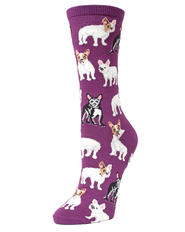 French Bulldog Bamboo Novelty Crew Socks | Fun Novelty Socks by MeMoi® | Dog Lover Socks | Blackberry Wine MF7-906