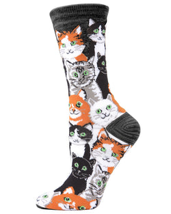 Multi Cat Bamboo Crew Socks | Fun Novelty Socks by MeMoi® | Cat Lover Socks | Black MF7-907