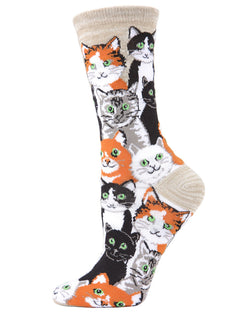 Multi Cat Bamboo Crew Socks | Fun Novelty Socks by MeMoi® | Cat Lover Socks | Crockery MF7-907