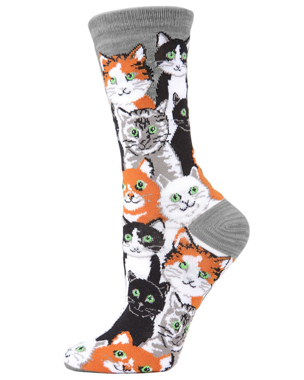 Multi Cat Bamboo Crew Socks | Fun Novelty Socks by MeMoi® | Cat Lover Socks | Silver Filigree MF7-907