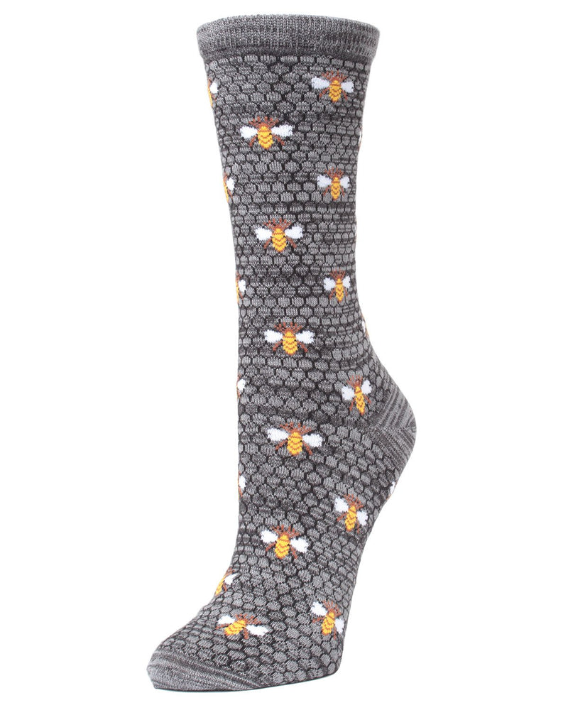 MeMoi Honey Bee Bamboo Blend Crew Socks