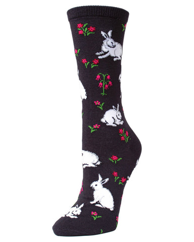 MeMoi Black Bunny and Flower Bamboo Crew Novelty Socks | Women's Fun Easter Novelty Socks