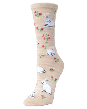 MeMoi Crockery Bunny and Flower Bamboo Crew Novelty Socks | Women's Fun Novelty Socks